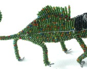 BEADED CHAMELEON - Wire Art hand made in South Africa - Unique beaded sculpture
