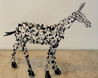 BEAD and WIRE ARTWORK Zebra from Africa - Most Unusual Piece to Grace your Home
