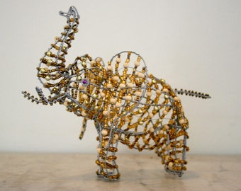 BEAD and WIRE ARTWORK  -  Golden Elephant from Africa - Most Unusual Piece to Grace your Home- Made of wire and different types of beads