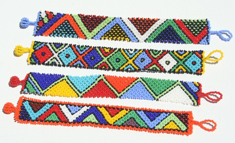 Set Of 4 BEADED ZULU BRACELETS Hand Made In Africa Free