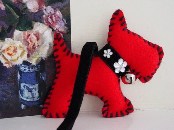 Soft Toy, Christmas Decoration, Scarlet, Handmade, Dog, Red, Felt