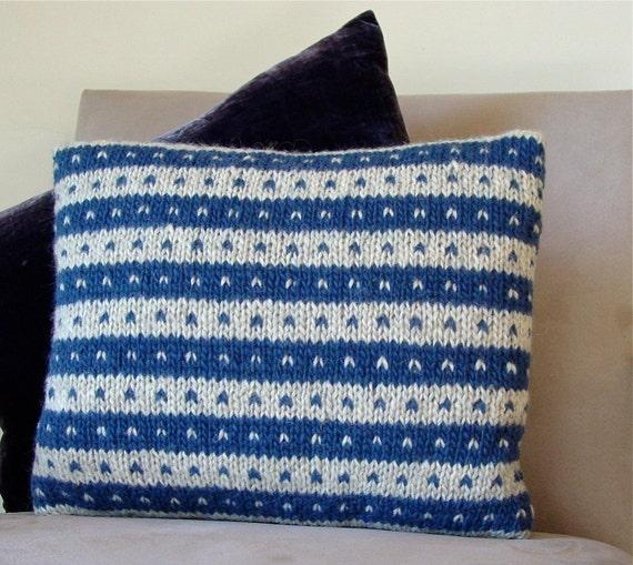 Cushion, Pillow, Scandinavian, Hand Knitted, Wool, Blue, Oat, Stripes