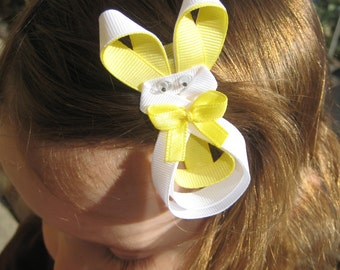 Easter Bunny Ribbon Sculpture Hair Clip - Yellow Easter Hair Bow - Easter Bunny Hair Clip - Bunny Hair Clip - Yellow Hair Clip - Easter