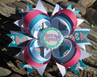 Butterfly Hair Bow - Blue Pink White Hair Bow - Spring Hair Clip - Hair Bow - Hair Clip - Girl Hair Accessory