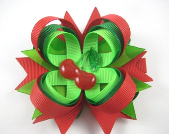 Green and Red Hair Bow - Cherry Hair Bow - Summer Hair Clip - Stacked Hair Clip - Small Hair Bow