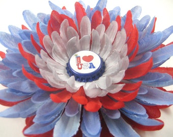 4th of July Hair Bow - Red White Blue Flower Hair Clip - Memorial Day Flower Hair Bow - Patriotic Hair Clip - Memorial Day Hair Bow