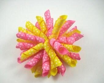 Pink and Yellow Polka Dot Korker Hair Bow  -  Korker Hair Clip - Korker Hair Bow