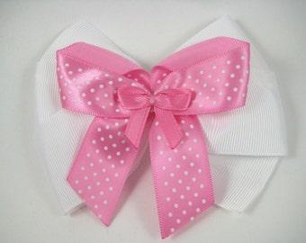 Pink Hair Bow - Pink Polka Dot Hair Bow - White Hair Bow - Polka Dot Hair Bow - Pink and White Hair Bow