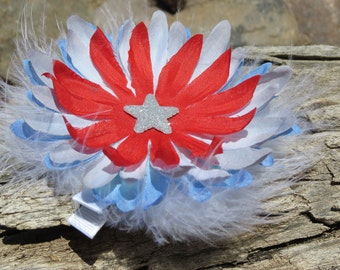 4th of July Hair Bow - Flower Hair Clip - Red White Blue Feather Hair Clip - Patriotic Hair Clip - Red White and Blue