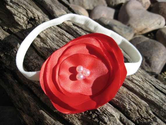 Christmas Day Headband - Red Flower Headband - Flower Headband -  Red Headband - Nylon Headband - Baby Toddler Headband - Valentines Day