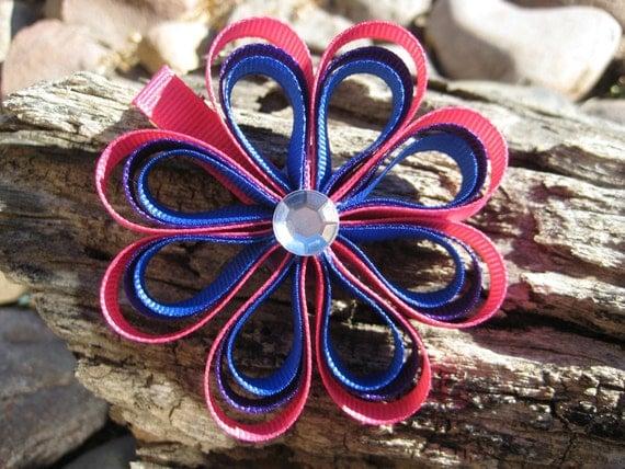 Flower Hair Clip - Ribbon Sculpture Flower Clip - Pink Blue Purple Flower Hair Clip - Flower Hair Bow