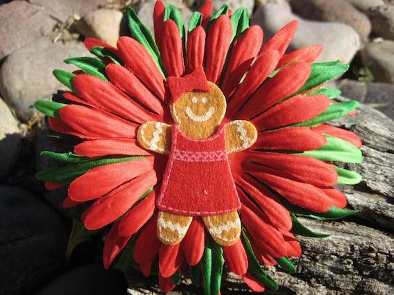 Holiday Hair Bow - Gingerbread Hair Bow - Christmas Hair Bow - Red Green Hair Bow - Hair Bloom