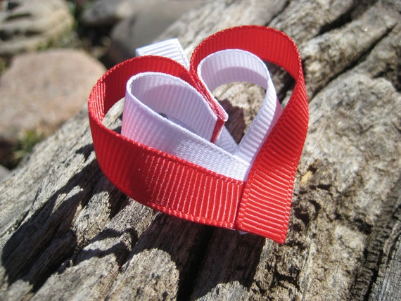 Heart Hair Clip - Valentines Day Hair Clip - Red Hair Clip - Heart Ribbon Sculpture - Red Hair Clip - Hair Clippie - Valentines Day