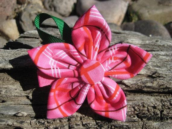 Pink Flower Hair Clip - Pink Hair Bow - Kanzashi Flower - Fabric Hair Clip - Pink Flower Ribbon Sculpture
