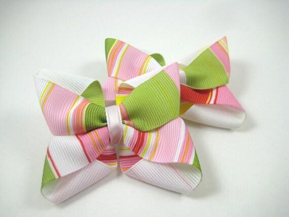 Spring Pastel Hair Bows - Pink White Green Hair Bow Set - Pigtail Hair Bows - Easter Hair Bows