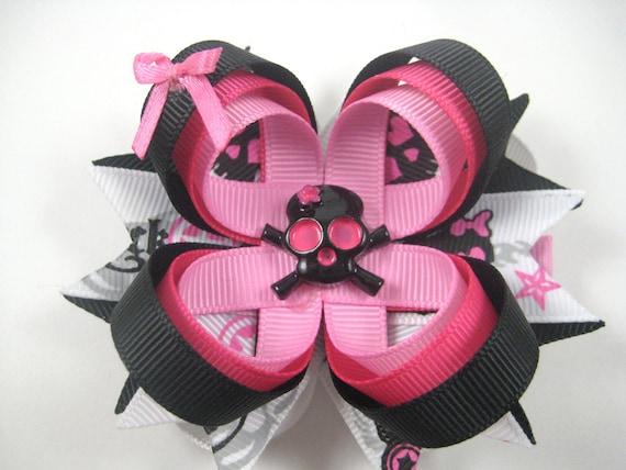 Skull Hair Bow - Pink and Black Skull Hair Bow - Pink Skull Bow - Black Skull Bow - Rock and Roll Hair Bow - Girl Skull Hair Clip