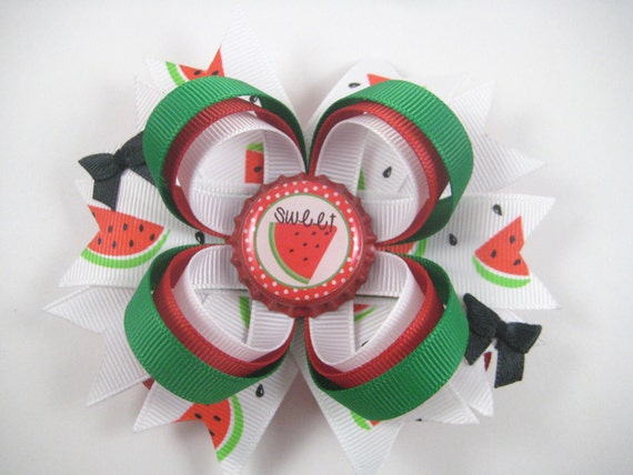 Watermelon Hair Bow - Summer Picnic Hair Bow - Red Hair Bow - Hair Bow - Green Hair Bow - Red Green White Hair Clip - Bottlecap Hair Bow