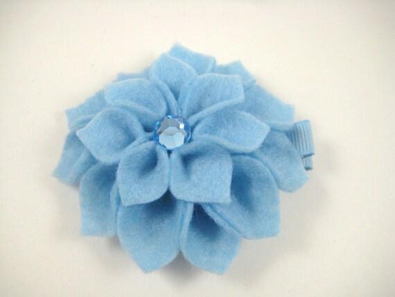 Blue Hair Clip - Light Blue Felt Flower Hair Clip - Blue Hair Bow - Flower Sculpture Hair Clip - Felt Hair Clip - Baby Blue - Blue