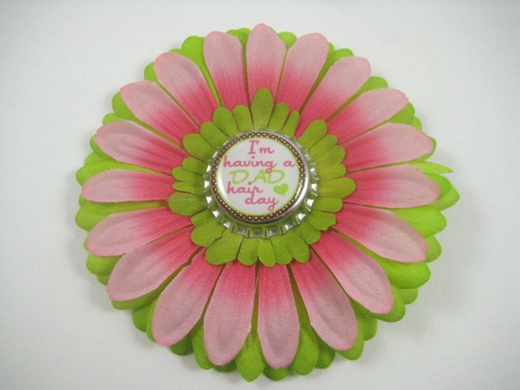 Pink and Green Flower Hair Bow -  Dad Hair Day Flower Hair Clip - Bottlecap Bloom
