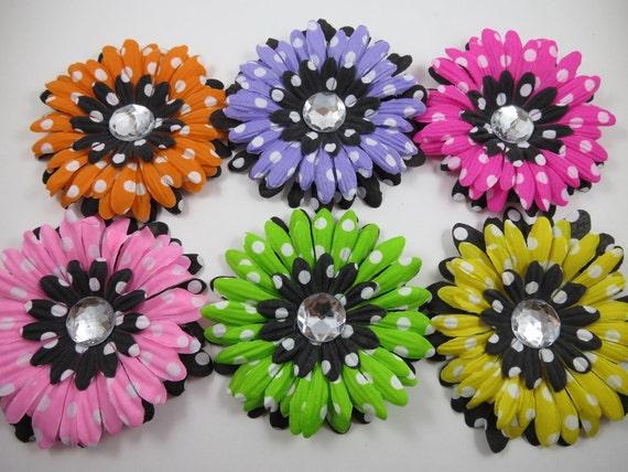 Polka Dot Flower Hair Clip Set - Lavender Yellow Pink Orange Green Black Polka Dot Flower Hair Clips - Infant Baby Toddler Girl Gift Set