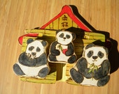 Panda Family With Wood House, Natural Wood Toy Play Set