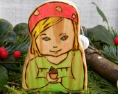 Forest Child Toy,  Hand made Natural Wood Forest Child with Little Acorn, Waldorf Style, Art You Can Play With, For Play or Display