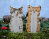 Natural Wood Toy Cats, Pair of Two, Painted to Resemble Your Cat, Art you can Play with, for Play or Display