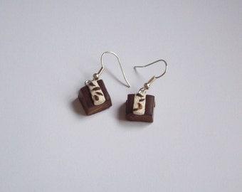 Polymer Clay Chocolate and Cream Slice Earrings