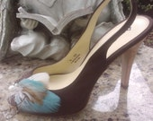 Wedding Shoe Clips, Bridal Shoe Clips, Feather Shoe Clips, Something Blue - Made to Order