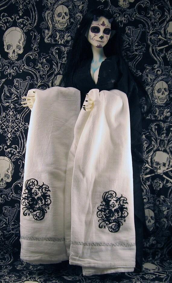 Embroidered tea towel kitchen towel housewares hand towel gothic skull creepy halloween morbid