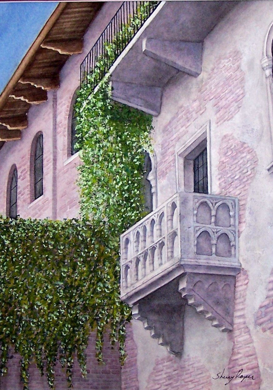Watercolor painting of italian balcony verona italy by for Balcony in italian