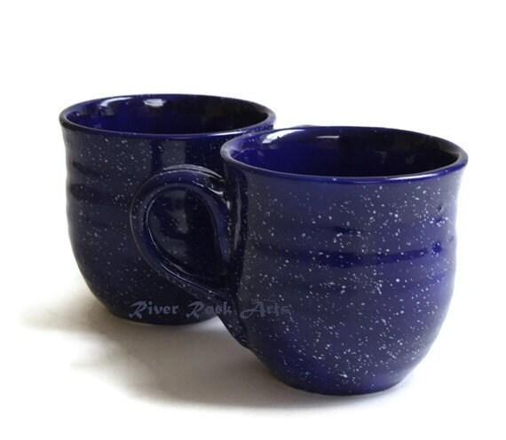 Large Speckled Cobalt Blue Ceramic Mugs - Set of 2