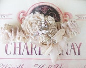Wedding Garter and Toss/Vintage Boho Style - Shabby Chic Wedding Garter with Pearls and Rhinestones- Tessie