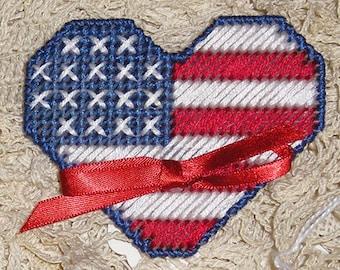 Patriotic Heart Needlework Red White Blue Heart