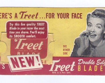 1940,s Salesmans Sample Treet Double Edge Razor Blade Advertising Treet Razors Mint Card and Blade in Package