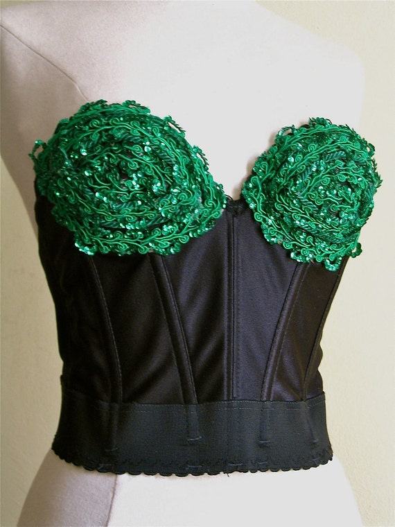 Decorated Bustier/ Corset, Green Sequin, 1980's Madonna Style