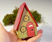 Tiny Fairy House with Red Door and Roof