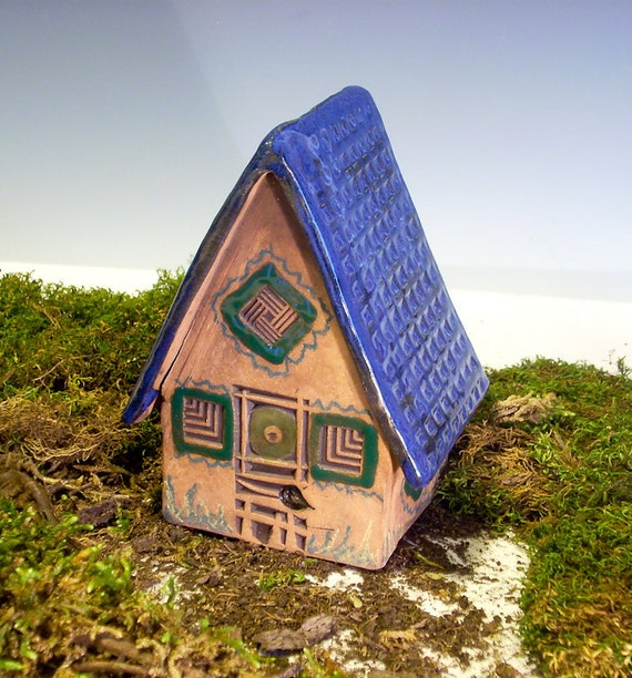 Cobalt Medium Fairy House with Swing
