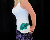 Winged Skull Racer Back Tank Top (White Tank, Teal Skull) Available in S,  M, L, XL - order one size up for best fit