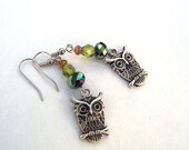 Owl Earrings  - Hoot Owls with Spruce Green, Asparagus Green, and Amber Czech Beads - Great Birthday, Easter Gift Present For Her tt team