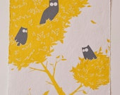 Three Wise Owls, Two colour Screenprint on handmade paper.