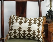 Blanket wool pillow, Pendleton Native American , throw pillow, suede leather  fringe, cream, olive, mustard, 18x12