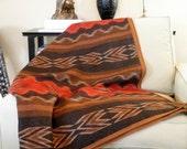Pendleton wool blanket fabric, vibrant Navajo design, picnics, camping, or dorm room, earthy colors of terra cotta and  brown 66 x 74