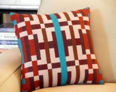 Pendleton Navajo pillow, modern graphic pattern in brown, cream, rust, turqouise, brown cotton suede back 16 x 16