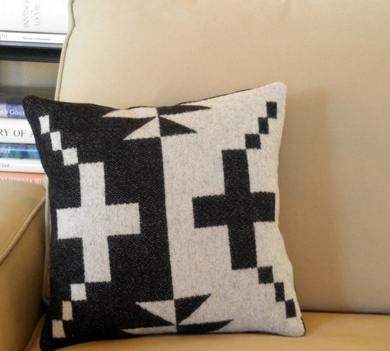 Pendleton Wool Throw Pillow, textural weave of wool Blanket weight fabric, classic Navajo cross , black, white,14 x 14