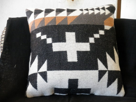 Pendleton pillow, classic Navajo cross,  textural weave of wool Blanket weight fabric, , black, white, tan, grey 16 x 16