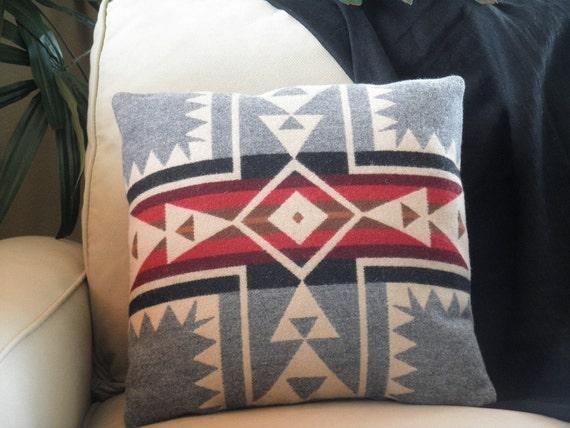 Pendleton pillow, classic cross Native American Harding pattern in wool heather grey, cream, red, black, 16 x 16