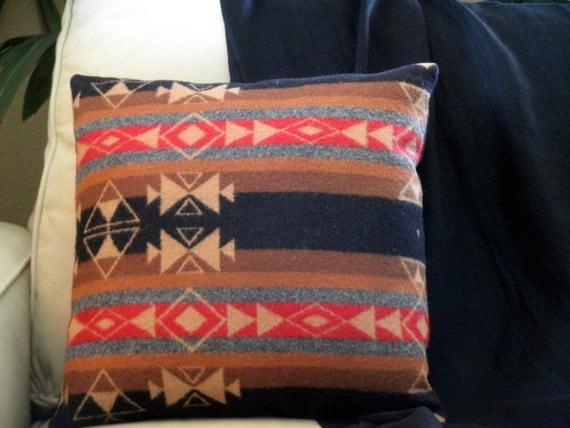 Pendleton wool throw pillow Native American blanket wool tribal stripes tan, black, grey, red 16x16