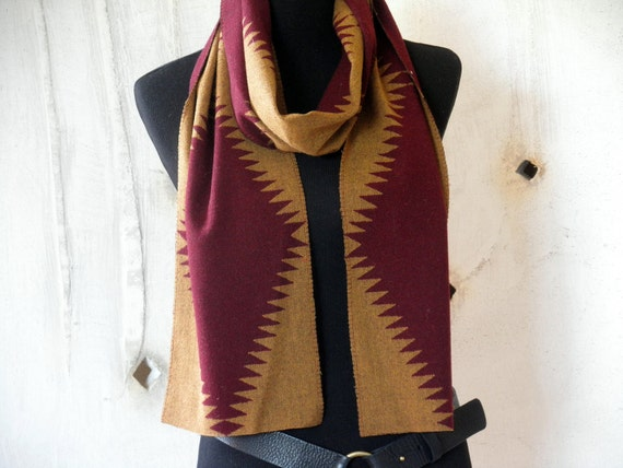 Navajo scarf, Pendleton wool fabric, lighter weight wool for 3 season wearing, bold design, extra long, gold and maroon, unisex 80 x 9
