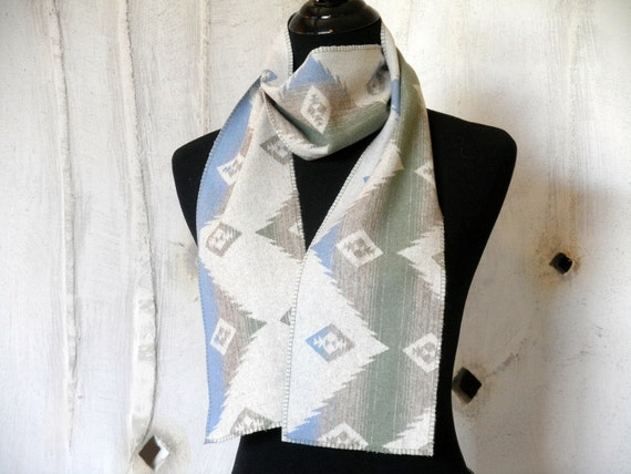Navajo scarf, Pendleton wool fabric, lighter weight wool for 3 season wearing, soft moss green, baby blue, cream, 65 x 6